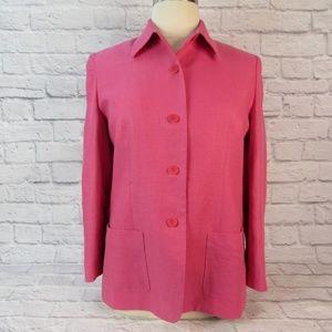 Talbots 16P linen blazer top pink button front